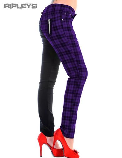 BANNED Clothing Punk Skinny Jeans Tartan HALF Black/Purple All Sizes