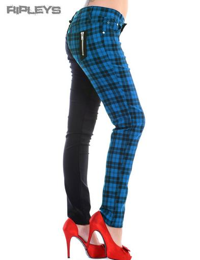 BANNED Clothing Punk Skinny Jeans Tartan HALF Black/Blue All Sizes