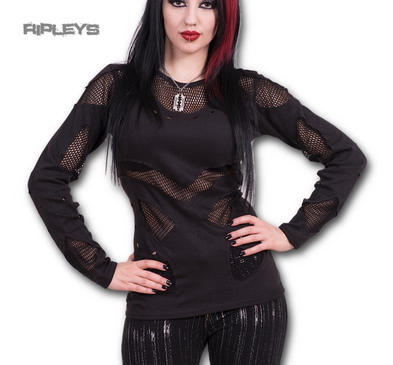 Spiral Direct Ladies Black Gothic Rock MESH Holes Top L/Sleeve All Sizes