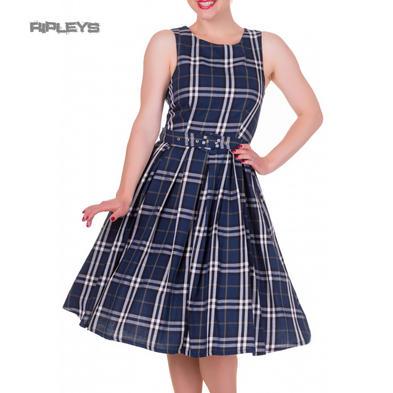 Dolly & Dotty ANNIE Retro 50s Dress Swing ~ Navy Blue Check All Sizes
