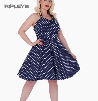 Dolly & Dotty PENNY Retro Dress Swing ~ Navy Blue Polka Dot All Sizes