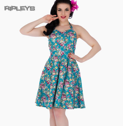 Dolly & Dotty CYNTHIA Vintage Dress ~ Turquoise Blue Floral All Sizes