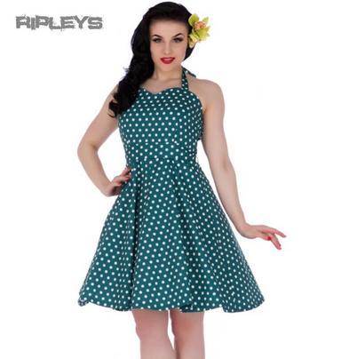 Dolly & Dotty PENNY Retro Dress Swing ~ Peacock Teal Polka Dot All Sizes