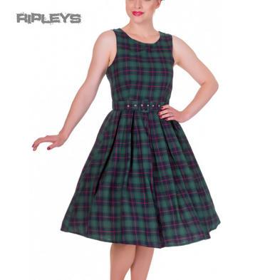 Dolly & Dotty ANNIE Retro 50s Dress Swing ~ Green Tartan Check All Sizes