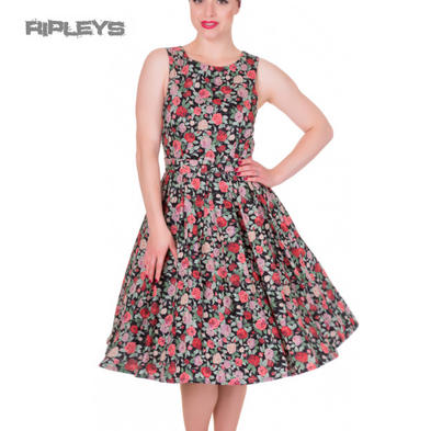 Dolly & Dotty ANNIE Retro 50s Dress Swing ~ Black Floral Flowers All Sizes