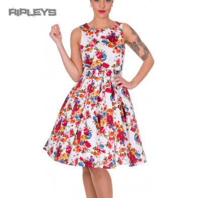 Dolly & Dotty ANNIE Retro 50s Dress Swing ~ White Floral Flowers All Sizes