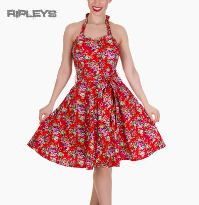 Dolly & Dotty CYNTHIA Vintage Dress ~ Red Flowers Floral All Sizes