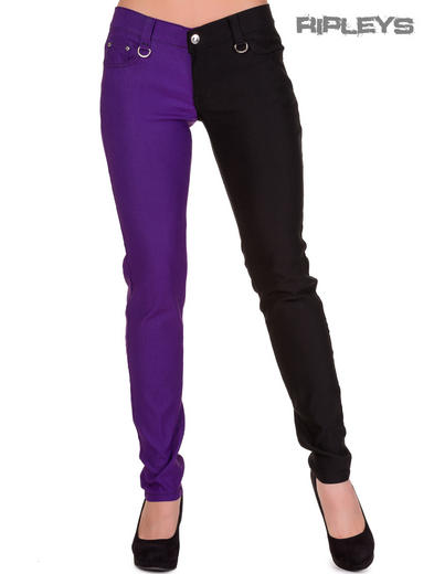 BANNED Clothing Punk Skinny Jeans Plain HALF Black/Purple All Sizes