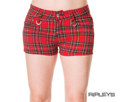 BANNED CLOTHING Punk/Goth Black RED AO Tartan Shorts All Sizes