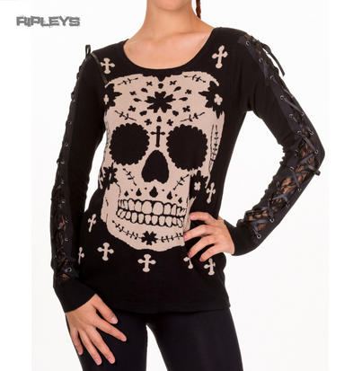 BANNED Goth Black Thick Top Sugar SKULL JUMPER Sweater Lace All Sizes