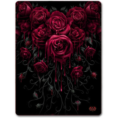 SPIRAL DIRECT Alternative Goth Black BLOOD ROSE Fleece Blanket Gift