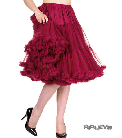 "BANNED 50s Dress Rockabilly Burgundy PETTICOAT Skirt 26"" X-Long All Sizes"