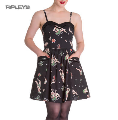HELL BUNNY Goth Mini Dress GWYNETH Hula Girls/Skulls Nautical All Sizes