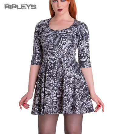 HELL BUNNY Spin Dr Mini Dress MALICE Skater Skulls Bones All Sizes
