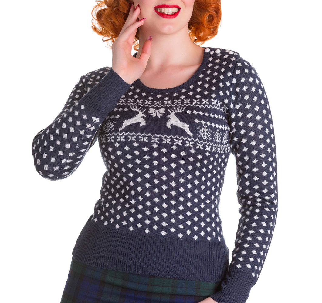 HELL BUNNY Winter Christmas Jumper BELLE Snowflake Navy Blue All Sizes