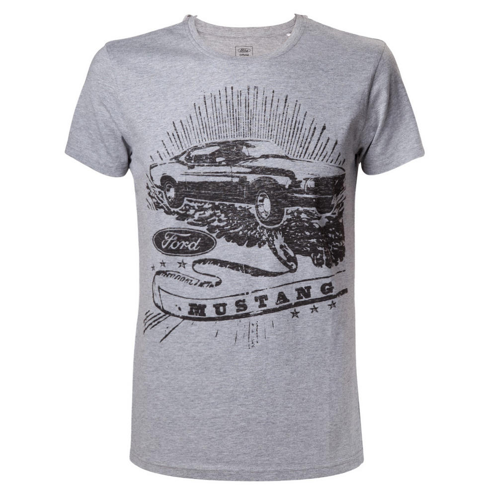 Official grey t shirt ford melange mustang vintage print for Vintage mustang t shirt