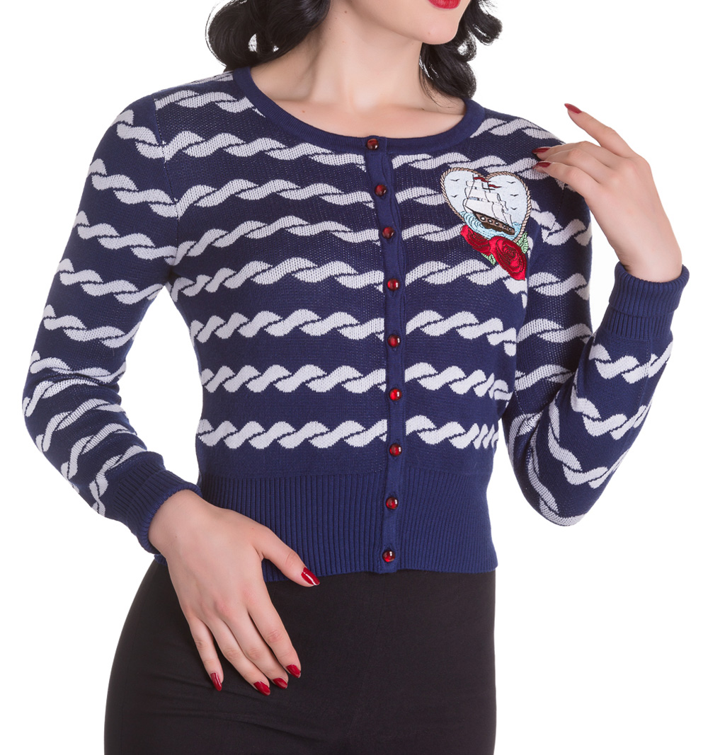 HELL BUNNY Ladies MARELLA 50s Nautical Sailor Cardigan Blue All Sizes