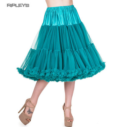 "BANNED 50s Dress Rockabilly Turquoise PETTICOAT Skirt 26"" X-Long All Sizes"