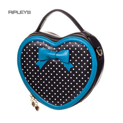 BANNED Clothing Rockabilly Handbag Bow Blue Polka Dot ~ Great Heights