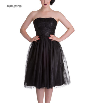 HELL BUNNY Strapless Party Prom Dress TAMARA Net ~ Black All Sizes
