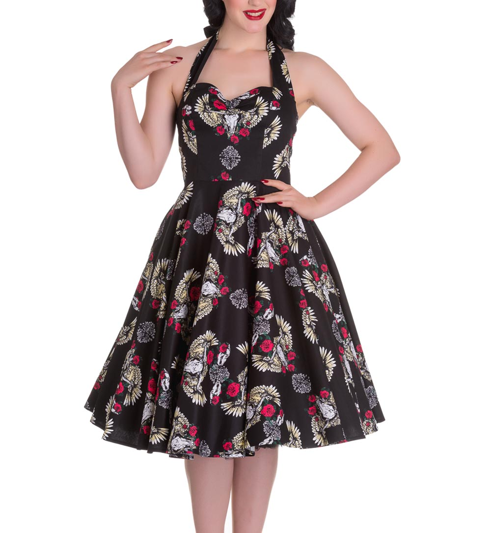 Hell Bunny Pinup 50s Dress TENNESSEE Skull Wings ...