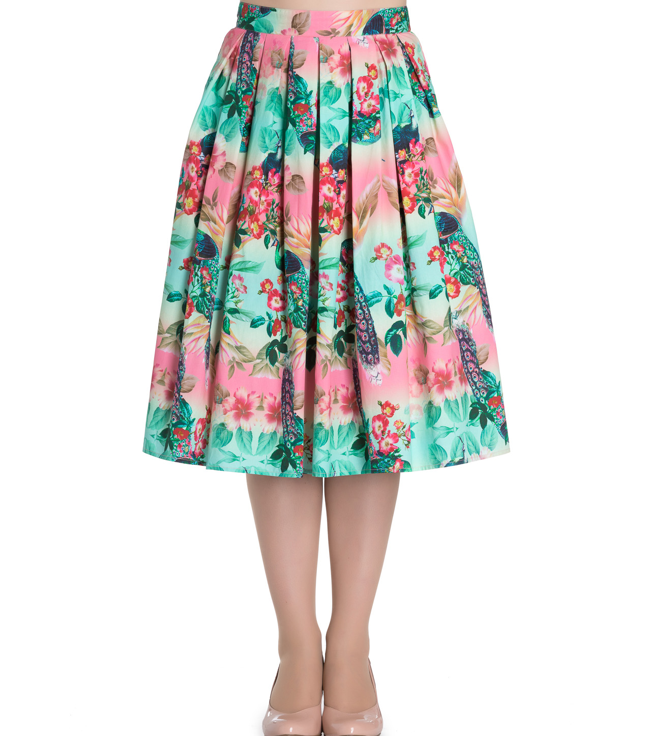 hell bunny 50s floral summer peacock pleated skirt blue