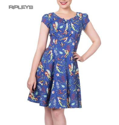 BANNED Clothing Party Skater Dress ~ Made of Wonder Mermaids Sea Blue All Sizes
