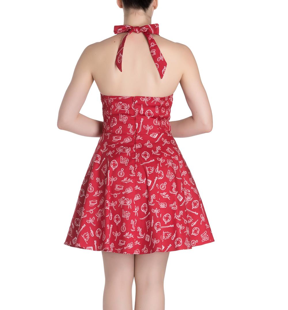 Hell Bunny Rockabilly Mini Dress MARIN Nautical Sailor   Red All Sizes