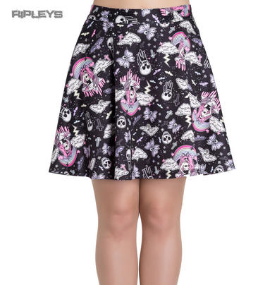 HELL BUNNY Short Mini CANDY GOTH Pink Skater Skirt Skulls All Sizes