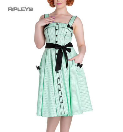 Hell Bunny Rockabilly Pinup MARTIE 50s Dress Polka Dot ~ Mint Green All Sizes