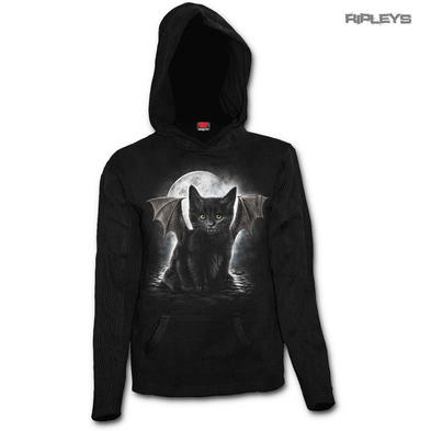 SPIRAL DIRECT Ladies Goth BAT CAT Mesh Hoody Top L/Sleeve All Sizes