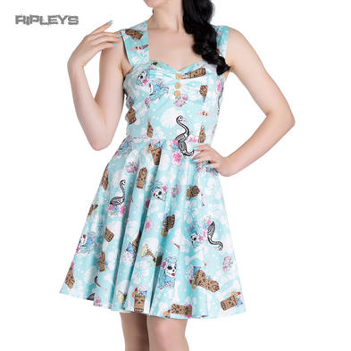HELL BUNNY Summer Mini Dress SUKI Blue Flowers Tiki Flamingo All Sizes