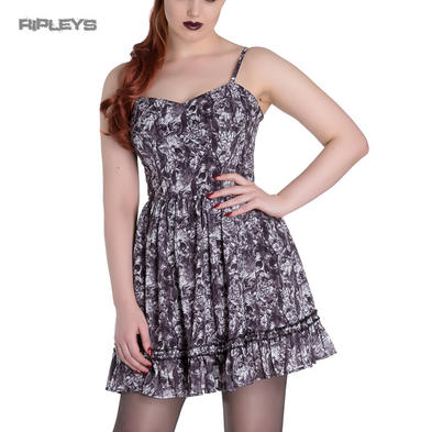 HELL BUNNY Goth Grunge Mini Dress AURA Skull Flowers ~ Grey All Sizes