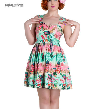 HELL BUNNY Summer Mini Dress PEACOCK Floral Pink/Green All Sizes
