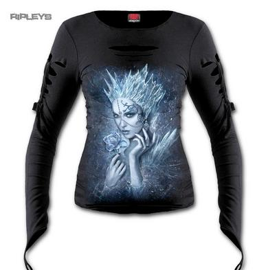 Spiral Direct Ladies Goth Snow ICE QUEEN Slash L/Sleeve Top All Sizes