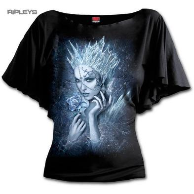 SPIRAL DIRECT Ladies Black Goth Snow ICE QUEEN Bat Wing Top All Sizes