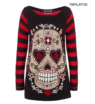 JAWBREAKER Goth Top Jumper/Sweater SKULL Stripe ~ Red & Black All Sizes