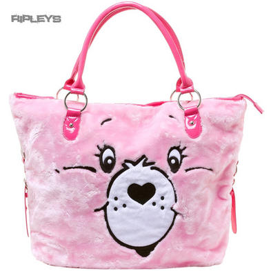 IRON FIST Ladies Tote Hand Bag Pink CARE BEARS Stare Face PVC
