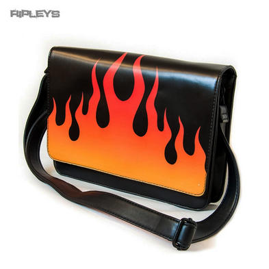 IRON FIST Ladies Messenger Gothic Hand Bag FIRE SIGN Flames PU