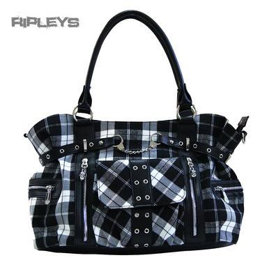 BANNED Clothing Punk Large TARTAN Handcuff Handbag Bag Goth ~ White