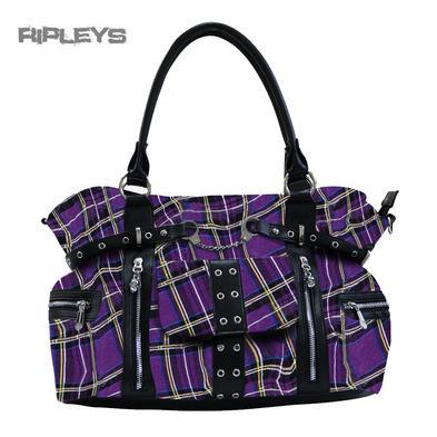 BANNED Clothing Punk Large TARTAN Handcuff Handbag Bag Goth ~ Purple