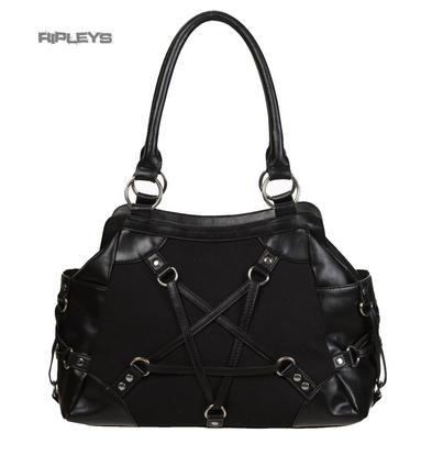 BANNED Clothing PVC Goth Handbag Black Star Pentagram STAND STILL