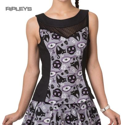 BANNED Goth Witch Cat Peplum NINE LIVES TOP Black/Grey All Sizes