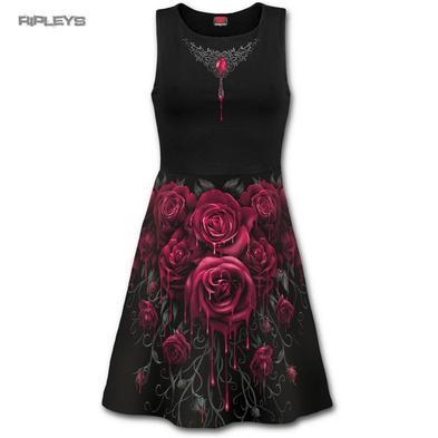 Spiral Ladies Black Goth Grunge ~ Blood Rose Midi SKATER Dress All Sizes