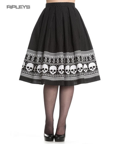 Hell Bunny 50s Rockabilly Black Skirt  CLARA Skulls Snowflakes All Sizes