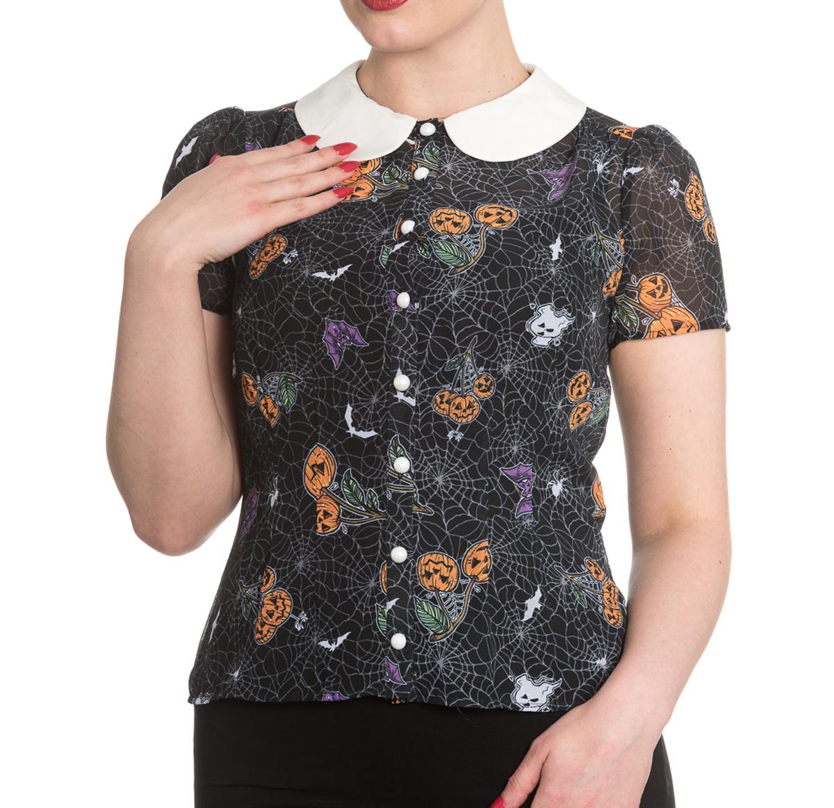 Hell Bunny Shirt Top Halloween Webs Pumpkins  HARLOW Blouse All Sizes