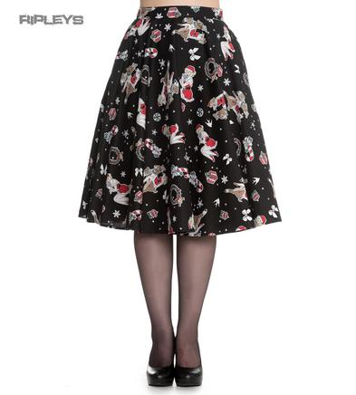 Hell Bunny Christmas Noel Pin Up Rockabilly 50s Skirt BLITZEN Black All Sizes