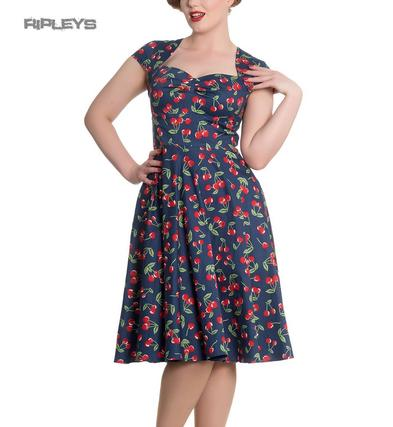 Hell Bunny Blue Pinup Rockabilly 50s Dress APRIL Cherry Cherries All Sizes