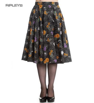 Hell Bunny Goth Webs Pumpkins 50s Skirt HARLOW Halloween Bats All Sizes