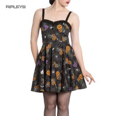 Hell Bunny Goth Webs Pumpkins Mini Dress HARLOW Halloween All Sizes